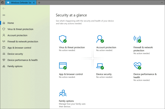Windows Defender Security Center Fluent Design Refresh