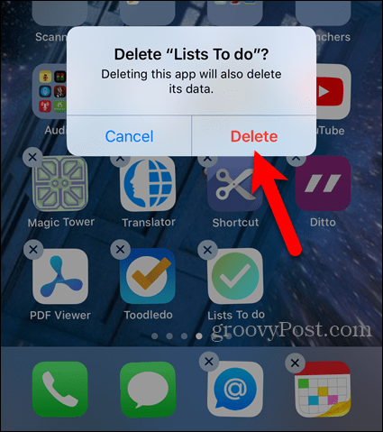 Tap Delete on confirmation dialog box