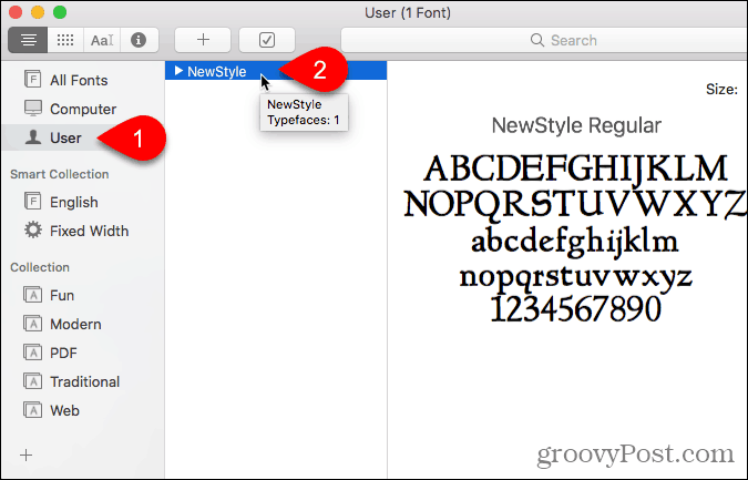 Font in the User section in Font Book
