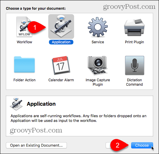 Choose Application type in Automator for Mac