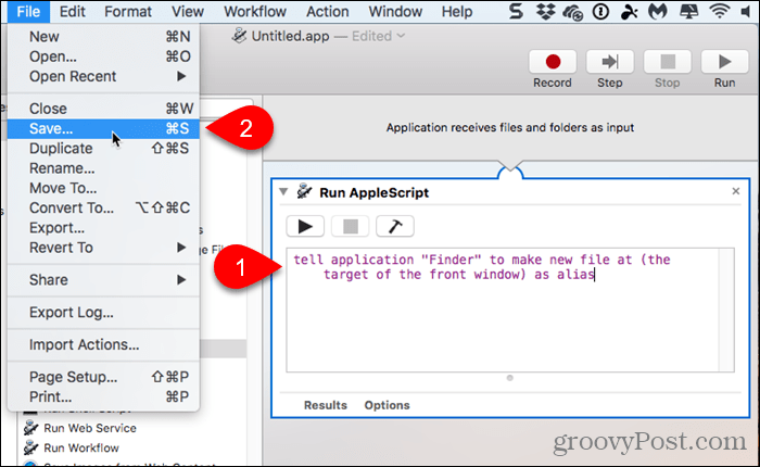 Paste script into Run AppleScript action and Save