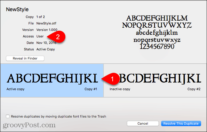 Click Reveal in Finder in Font Book