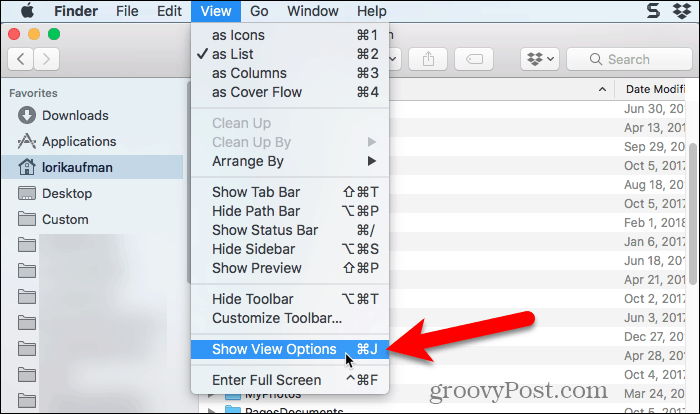 Select Show View Options in Finder on Mac
