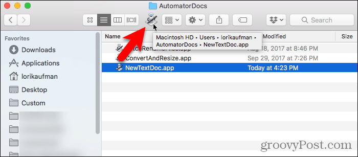 Drag Automator app to the Finder toolbar
