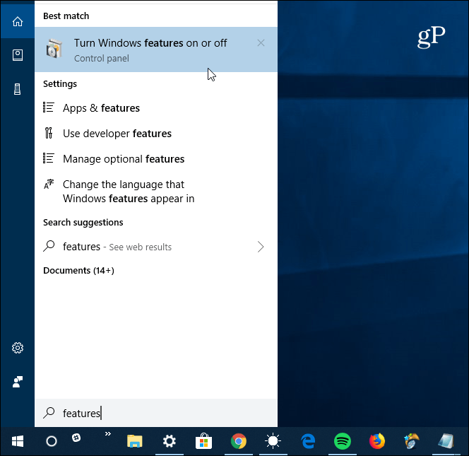 turn on windows features