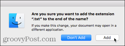 Add extension confirmation dialog box on Mac