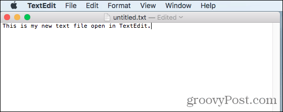 Text file open in TextEdit on Mac