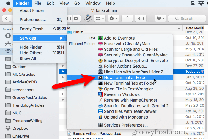 Select New Terminal at Folder in Finder
