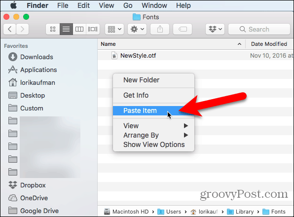 Select Paste Item in Finder