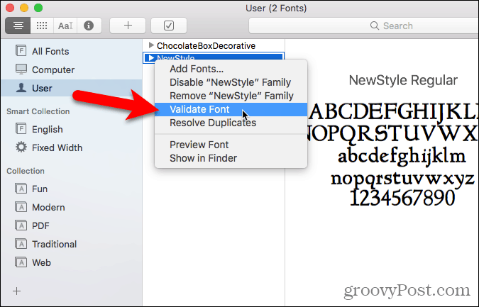 Select Validate Font in Font Book
