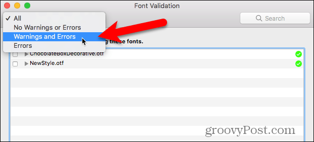 Show Warnings and Errors in Font Book