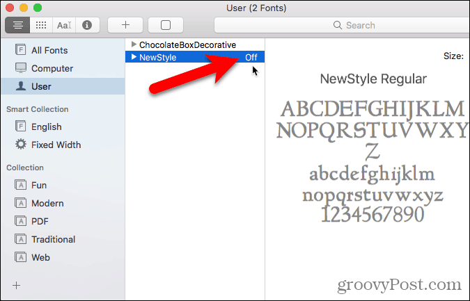 Font disabled in Font Book