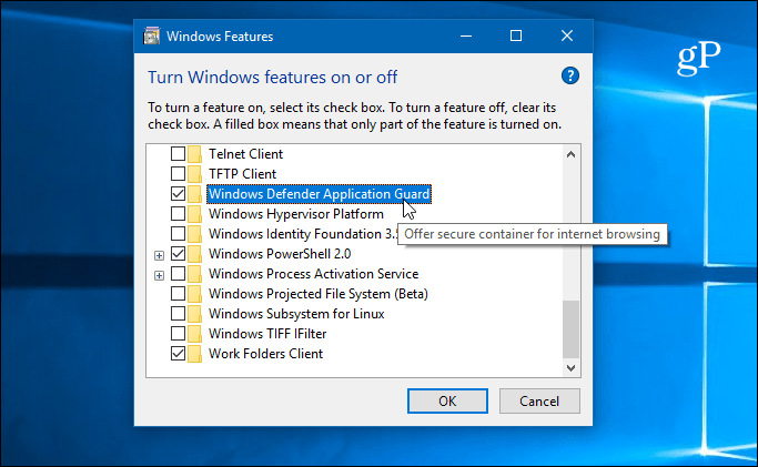 enable feature windows defender application guard