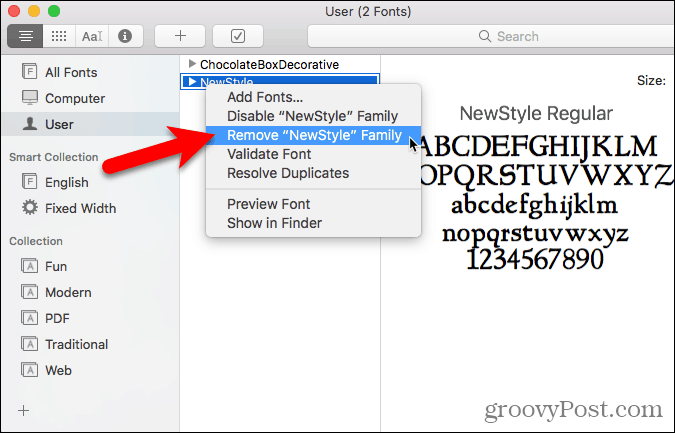 Remove a font in Font Book