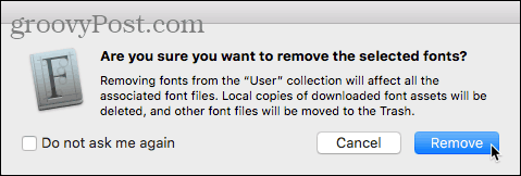 Remove Font confirmation dialog box