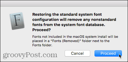 Restore Fonts confirmation dialog box in Font Book