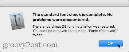 Standard font check complete dialog box in Font Book