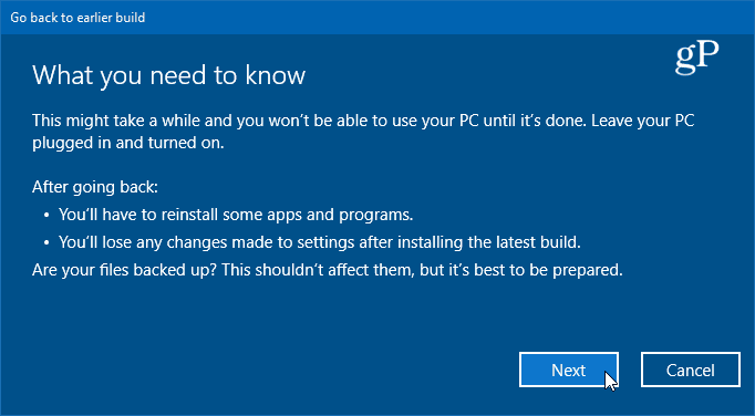 details on rollback to previous version of windows 10