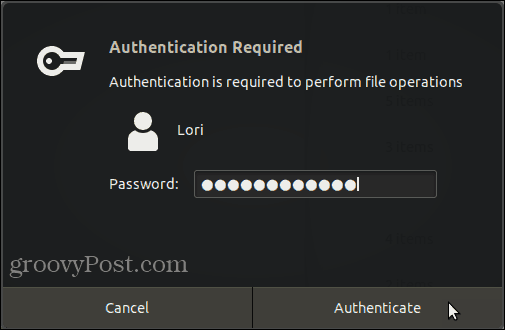 Authentication Required dialog box