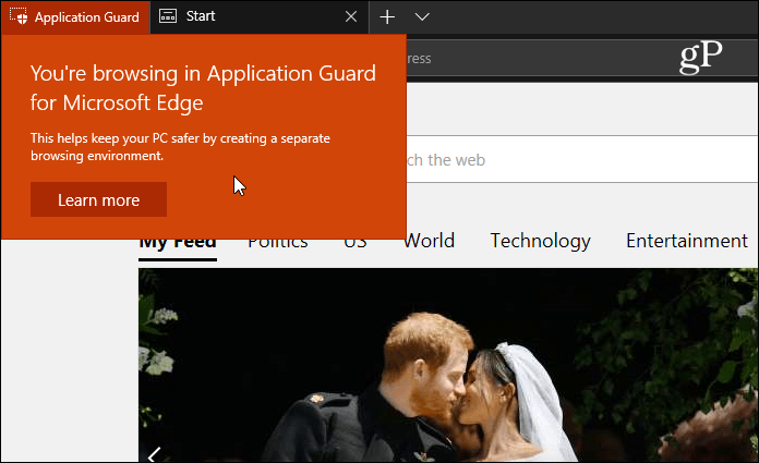 you're browsing in application guard for microsoft edge