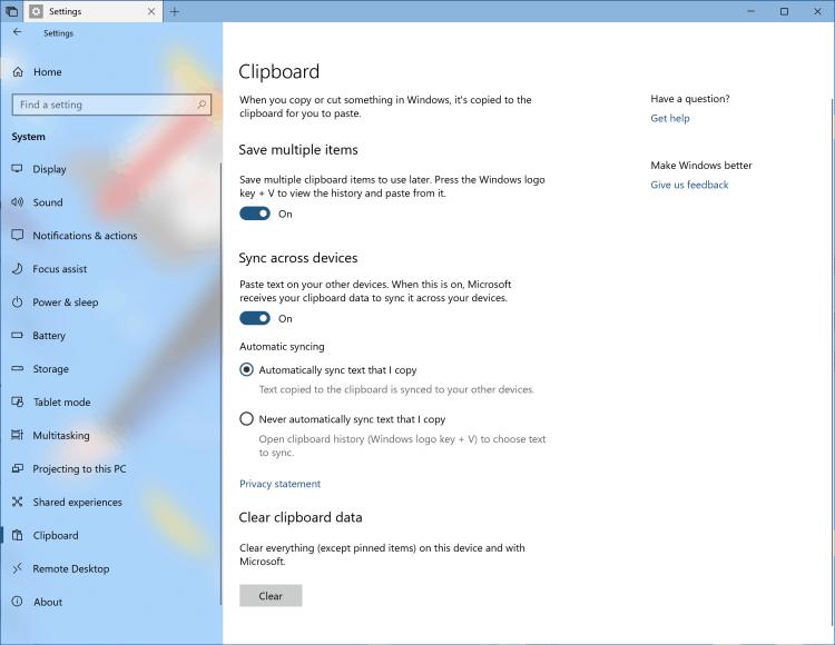 Windows 10 RS5 Cloud Clipboard