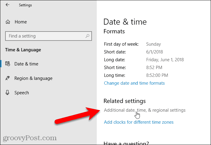 Click Additional date, time, & regional settings