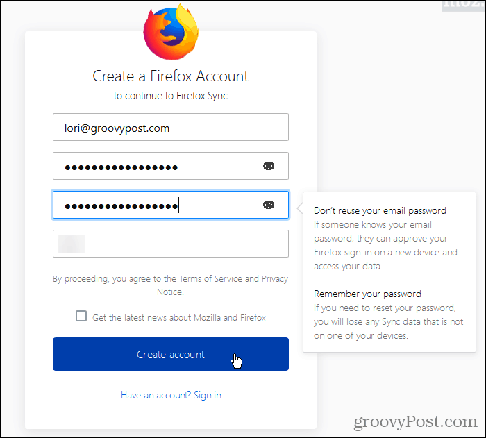 Create a Firefox Sync account