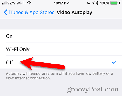 Tap Off for Video Autoplay