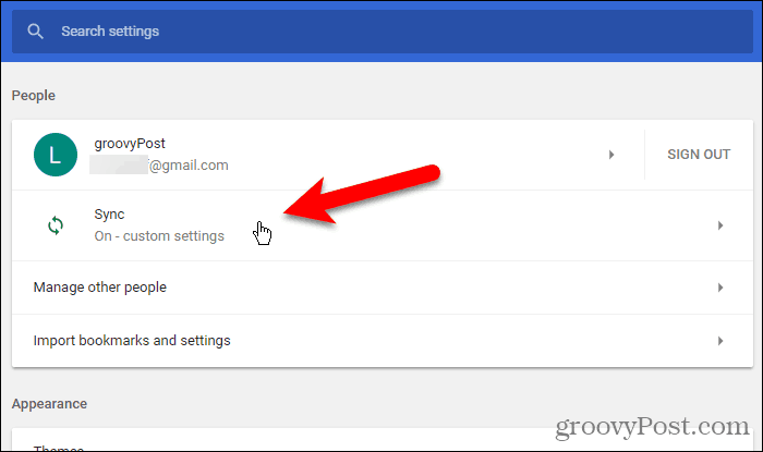 Click Sync in Settings in Chrome for Windows