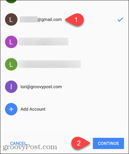 Select email or Add Account