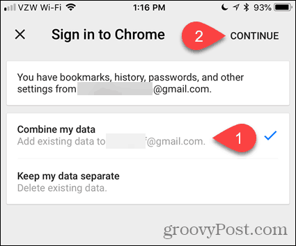 Combine my data in Chrome for iOS