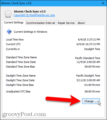 Click Change in Atomic Clock Sync to adjust date and time