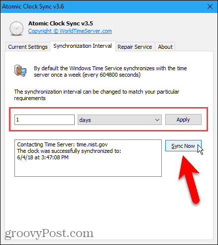 Change Interval tab in Atomic Clock Sync