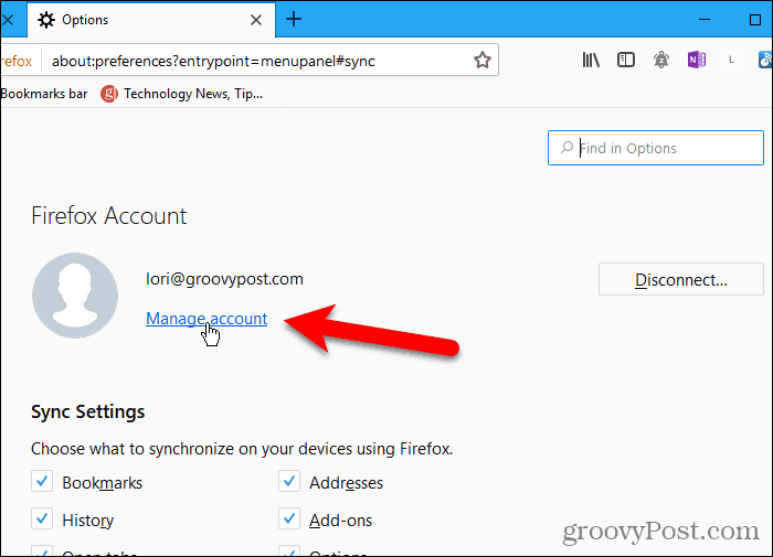 Click Manage account in Firefox for Windows
