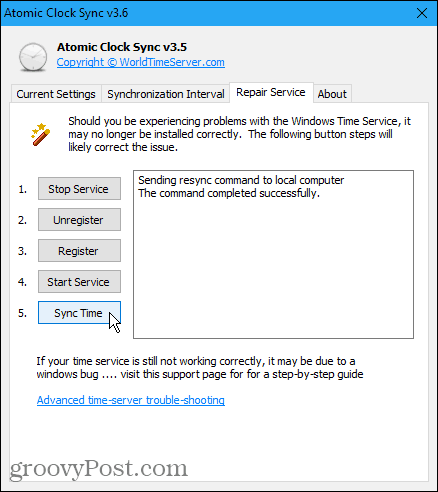 Repair Service tab in Atomic Clock Sync