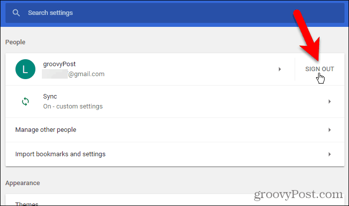 Click Sign Out in Chrome for Windows