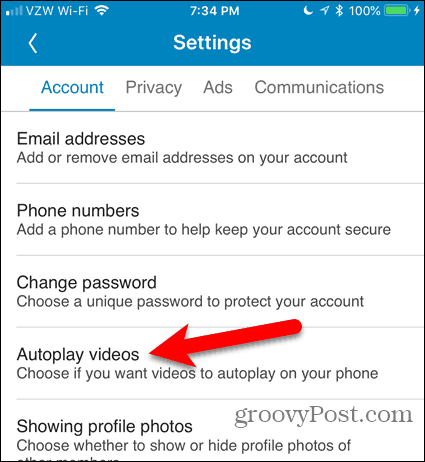 Tap Autoplay videos in LinkedIn