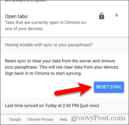 Reset Sync in Chrome for iOS