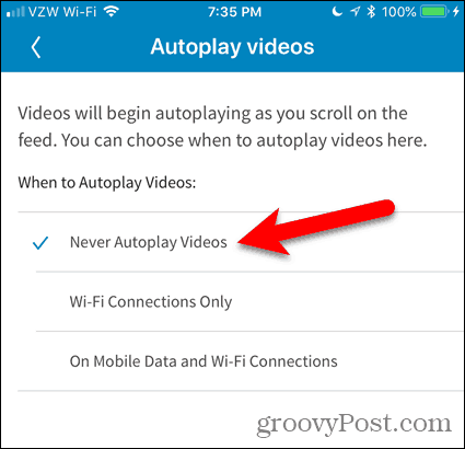 Tap Never Autoplay Videos in LinkedIn
