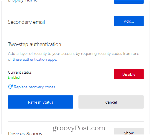 Two-step authentication enabled