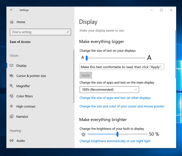 Make Everythign Bigger Windows 10 Display Settings