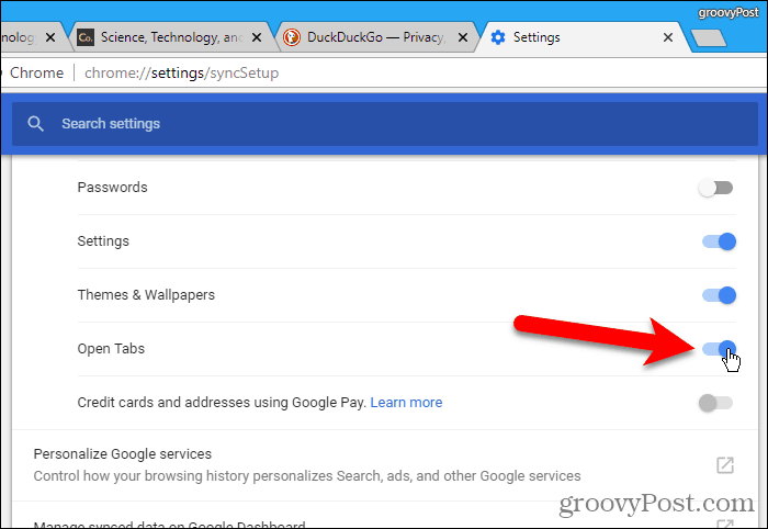 Enable Open Tabs in Chrome for Windows