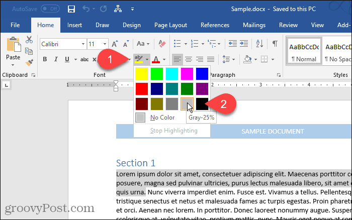 Highlighting text in Word