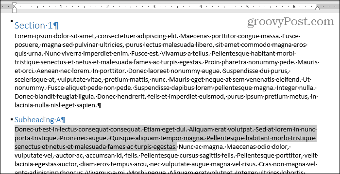 Select a block of text in Word