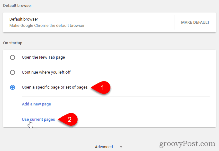 Click Use current pages in Chrome