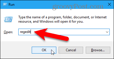 Open the Registry Editor in Windows 10