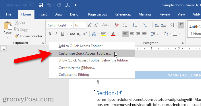 Select Customize Quick Access Toolbar