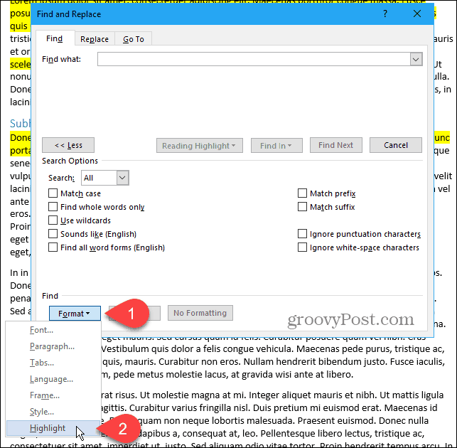 Click Format, then select Highlight