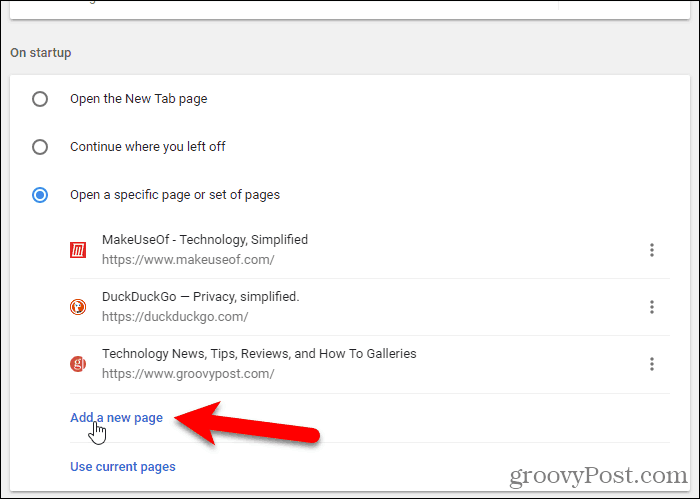 URLs added in Chrome