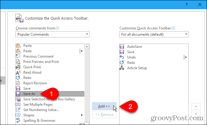 Add Save As to the Quick Access Toolbar